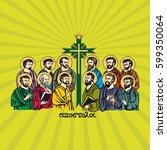 drawing the twelve apostles of... | Shutterstock .eps vector #599350064