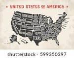 poster map of united states of... | Shutterstock .eps vector #599350397