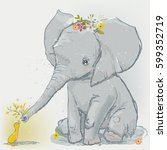 cute cartoon elephant with... | Shutterstock .eps vector #599352719