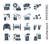 set of black icons servicing ... | Shutterstock .eps vector #599355581