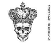 king skull wearing crown. hand... | Shutterstock .eps vector #599362631