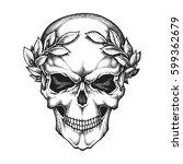 roman emperor skull wearing... | Shutterstock .eps vector #599362679