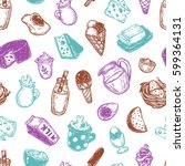 hand drawn pattern with vector... | Shutterstock .eps vector #599364131