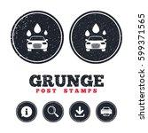 grunge post stamps. car wash... | Shutterstock .eps vector #599371565