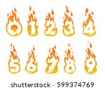 illustration of burning numbers ... | Shutterstock .eps vector #599374769