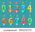 collection of birthday number... | Shutterstock .eps vector #599374775
