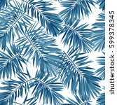 indigo vector seamless pattern... | Shutterstock .eps vector #599378345