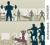 two editable vector silhouettes ... | Shutterstock .eps vector #59937859