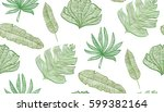 tropical stylized leaves with... | Shutterstock .eps vector #599382164