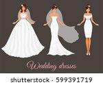 women in wedding bridal dresses ...   Shutterstock .eps vector #599391719