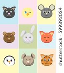 set of cute animals' faces... | Shutterstock .eps vector #599392034