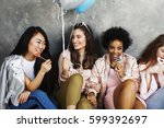 lifestyle and people concept ... | Shutterstock . vector #599392697