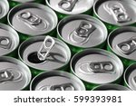 green soda cans  top view  with ... | Shutterstock . vector #599393981