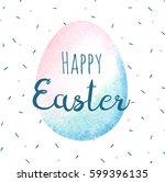 watercolor easter card.... | Shutterstock . vector #599396135