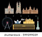 spain landmarks travel and... | Shutterstock .eps vector #599399039