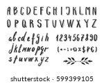serif hand drawn thin font....   Shutterstock .eps vector #599399105