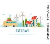 travel by car  world travel ... | Shutterstock .eps vector #599400461