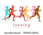 people running marathon logo... | Shutterstock .eps vector #599413691