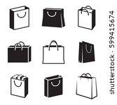 shopping bag icons set. black...   Shutterstock .eps vector #599415674