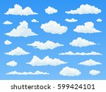 white clouds on blue sky. flat... | Shutterstock .eps vector #599424101
