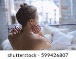 young beautiful girl reading...   Shutterstock . vector #599426807