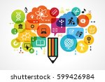 the concept of modern education.... | Shutterstock .eps vector #599426984