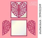 laser cut wedding invitation or ... | Shutterstock .eps vector #599432249