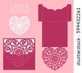 vector die laser cut envelope...   Shutterstock .eps vector #599432261