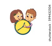 children and time  a fun play... | Shutterstock .eps vector #599432504