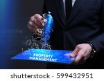Small photo of Business, Technology, Internet and network concept. Young businessman working on a virtual screen of the future and sees the inscription: Property management