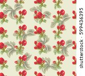 vintage seamless pattern with... | Shutterstock .eps vector #599436395