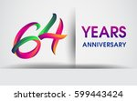 sixty four years anniversary... | Shutterstock .eps vector #599443424