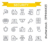 security icons  thin line  flat ... | Shutterstock .eps vector #599444435