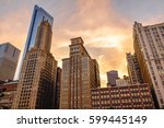 orange evening and the city | Shutterstock . vector #599445149