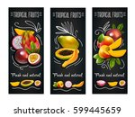 three vertical tropical fruits... | Shutterstock .eps vector #599445659