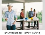 female architect or engineer... | Shutterstock . vector #599446445