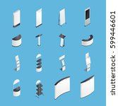 set of isometric icons with... | Shutterstock .eps vector #599446601