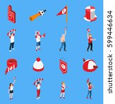 isometric set of sports fans... | Shutterstock .eps vector #599446634