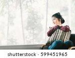 beautiful young asian girl... | Shutterstock . vector #599451965