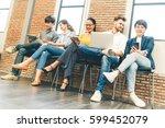 multiethnic diverse group of... | Shutterstock . vector #599452079