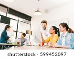 multiethnic diverse group of... | Shutterstock . vector #599452097