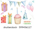 set of doodles birthday design... | Shutterstock . vector #599456117