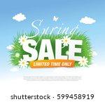 spring sale poster  vector... | Shutterstock .eps vector #599458919