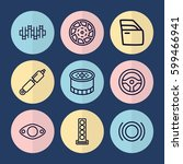 set of 9 part outline icons... | Shutterstock .eps vector #599466941