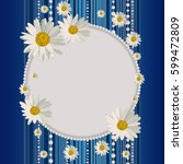 round frame with daisies on...   Shutterstock .eps vector #599472809