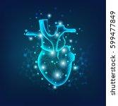 heart in electronical looks ... | Shutterstock .eps vector #599477849