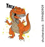 a vector art trex dinosaur on... | Shutterstock .eps vector #599480909