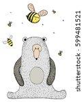 Bear And Bee. Hand Drawn...