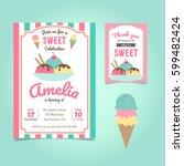 ice cream party birthday... | Shutterstock .eps vector #599482424