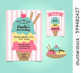 ice cream party birthday... | Shutterstock .eps vector #599482427